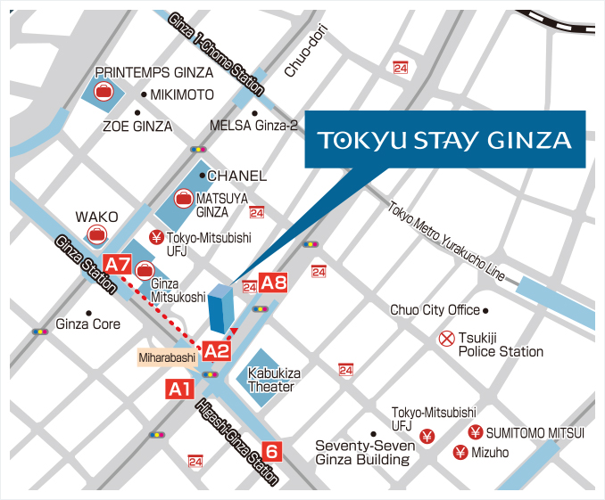 Tokyu Stay Ginza access